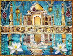 Jewel of India - Taj Mahal - Original Mixed Media Painting Print Modern Art Tara Richelle