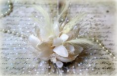"Large Ivory Fabric Flowers with Tulle, Feathers, Pearl Sprays, and Lace approx. 7.50"" Including Tulle (Flower Alone Is 5"") FL-135"