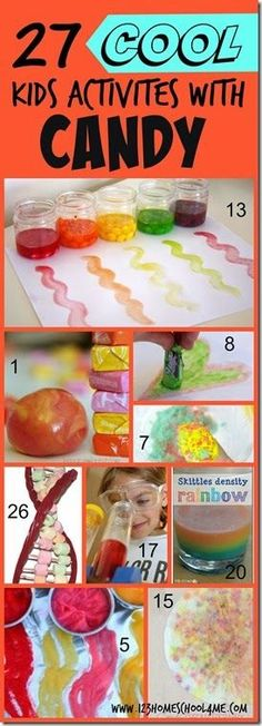 Got Candy? So many fun, clever kids activities to do with leftover Halloween Candy! LOVE THIS! Candy Theme, Candy Art, Candy Crafts, Learning Games For Toddlers, Fun Activities For Kids, Learning Activities, Science Resources, Science Lessons, Teaching Resources