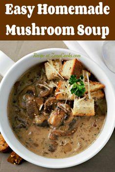 Easy Mushroom Soup, Homemade Mushroom Soup, Mushroom Soup Recipes, Best Soup Recipes, Mushroom And Onions, Homemade Soup, Dinner Recipes, Healthy Recipes, Dinner Ideas