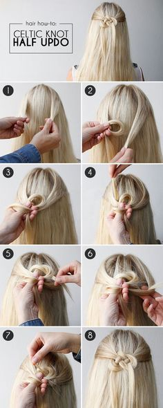 Hair How-To: Celtic Knot Half-Updo - Why settle for pulling back your hair in a simple barrette when you could wow 'em with this cool Celtic knot? See how easy it is to create this half-updo hairstyle. Just don't pull your hair into a REAL knot! Half Updo Hairstyles, Hair Updo, Pretty Hairstyles, Hair Knot, Wedding Hairstyles, Summer Hairstyles, Simple Hairstyles For Long Hair, Knot Braid, Elegant Hairstyles