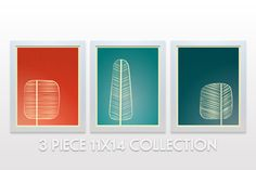 Mid Century Trees Artwork Set of 3 - 11x14 Art Print - modern wall art decor forest branches nature red coral orange aqua teal green minimal...