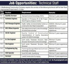 Engineers JOBS for Construction Company DG KHan