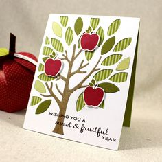 Sweet & Fruitful Year Card by Lizzie Jones for Papertrey Ink (July 2015)