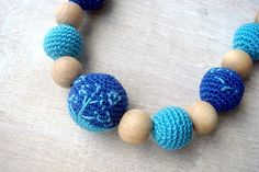 Nursing/teething  necklace Blue turquoise by MiracleFromThreads, $30.00