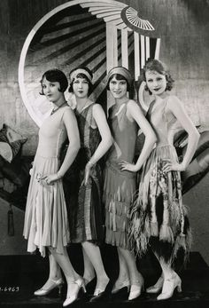 """I love the wide headbands that the Flappers wore and they don't """"smush"""" your hair like hats (for those of us with big or spikey hair)! Gorgeous Chorus Girls on the set of Becky c.1927"""