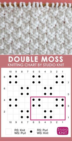 Double Moss Knit Stitch Pattern Chart with Video Tutorial by Studio Knit. Get FREE Knitting Pattern, Chart, Photos, and Video Tutorial by Studio Knit. #StudioKnit #knittingpattern #knitstitchpattern #knitting #freepattern