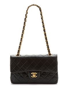 Vintage Black Quilted Lambskin Leather Classic 2.55 Double Flap Bag