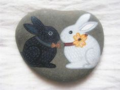 Bunnies Painted Stone