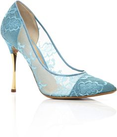 Nicholas Kirkwood Lace Pointy Toe Chrome Heel Pump in Blue (turquoise ...