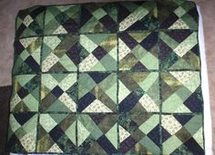 Crazy quilt, my grandson wanted a black & green combination