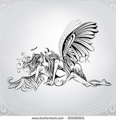 Find Angel Demon Ornament Vector Illustration stock images in HD and millions of other royalty-free stock photos, illustrations and vectors in the Shutterstock collection. Thousands of new, high-quality pictures added every day. Neue Tattoos, Body Art Tattoos, Tribal Tattoos, Tattoo Sketches, Tattoo Drawings, Art Sketches, Tatoo Angel, Phenix Tattoo, Fairy Drawings