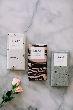Mini Mast Chocolate Bars in gorgeous cover designs Ice Cream Packaging, Soap Packaging, Print Packaging, Product Packaging, Product Branding, Dessert Packaging, Tag Design, Label Design, Branding Design