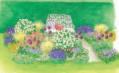 Zum Nachpflanzen: Ein blühendes Beet mit Rosen und Stauden -  Passende Begleiter für Rosen gibt es in allen Formen und Farben. Rosenliebhaber kennen die Vorzüge, die blühende Stauden ins Rosenbeet einfließen lassen.