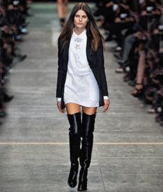 How to wear over the knee black boots.