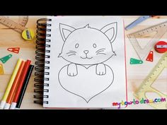 How to draw Cute Kittens with Love Hearts - Easy step-by-step drawing lessons for kids - YouTube