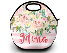 Monogrammed Lunch Bag, Personalized Lunch Tote by SassySouthernGals on Etsy