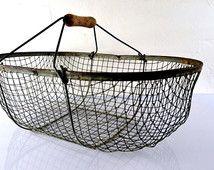 véritable panier à huîtres métal fer  déco marine loft casier grillage ancien