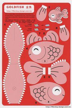Goldfish - Cut Out Postcard 3d Paper Art, Diy Paper, Diy For Kids, Crafts For Kids, Paper Fish, Origami Fish, Paper Animals, Paper Models, Animal Crafts