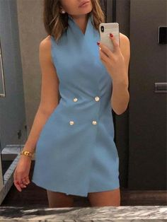 Mode Outfits, Dress Outfits, Casual Dresses, Short Dresses, Fashion Dresses, Formal Outfits, Mini Dresses, Party Dresses, Blue Dresses