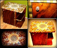 Art deco nightstand decorated with glass mosaics Art Deco Furniture, Upcycled Furniture, Vintage Furniture, Furniture Design, Art Deco Home, Mosaic Designs, Upcycled Vintage, Art Deco Design, Cabinet Design