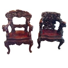 Chinese Arm Chair, Carved Rosewood Ornate, | From a unique collection of antique and modern armchairs at http://www.1stdibs.com/furniture/seating/armchairs/