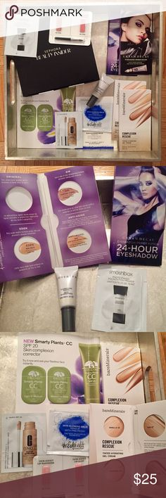 Sephora Face Makeup Samples Bundle Urban Decay Eyeshadow Primer (x2 with 4 shades each. Original shade has been removed from one of the samples, as shown in photo #2), Cover FX Illuminating primer, Smashbox photo finish primer, bareMinerals complexion rescue 4 sample creams (x2), Esteé Lauder skin glowing balm, Origins CC, Clinique neutral foundation + consealer, Dior Addict lip samples. Sephora Makeup