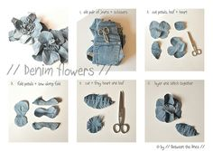 // Between the lines //: Denim Flowers :: a DIY  Got plenty of scrap denim to use, that's for sure:)