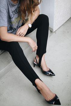 Slogan Leggings With Side Stripe Legging Outfits, Pants Outfit, Stirrup Leggings, Black Leggings, Leggings Are Not Pants, Ski Pants, Fendi, Casual Outfits, Fashion Outfits