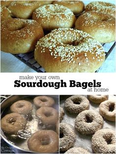 Simple step by step tutorial for homemade sourdough bagels made with whole grains - mix with your favorite ingredients or toppings to make your own.