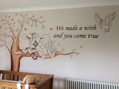 """Winnie the Pooh Nursery Murals"" Baby room. ""Winnie the Pooh Nursery Murals"" Baby room. Winnie Poo, Winnie The Pooh Nursery, Woodland Nursery Boy, Baby Boy Nursery Themes, Baby Boy Rooms, Baby Boy Nurseries, Baby Decor, Disney Baby Nurseries, Baby Bedroom"