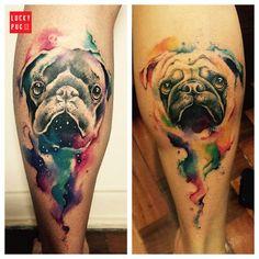 Leg Pug Tattoo on Ramon Martins, by Rodrigo Tas, Brazil - www.luckypug.com