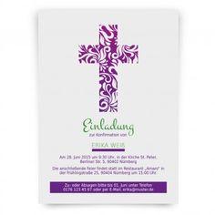 Einladungskarten Zur #Konfirmation Im Blumenkreuz Design In Lila. Mit  Eigenem Text Individualisiert. Jetzt