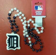 MLB Detroit Tigers Mardi Gras Beads with Medallion