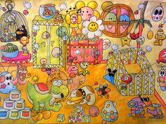 Baby Mario's Bedroom @ Yoshi's Island; Size: A4; Technic: aquarelle pencil; Game: Super Mario World 2 - Yoshi's Island (Nintendo, 1995)