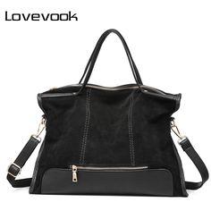 4de83ca0a340 LOVEVOOK сумка женская большая высокого качества из сплит кожи дамские сумки  винтажные новинка 2017 известного модного бренда кожаная сумка с короткими  ...