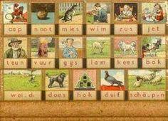 Aap-noot-mies; zo heb ik leren lezen. Ik heb zo'n leesplankje met lettertjes.