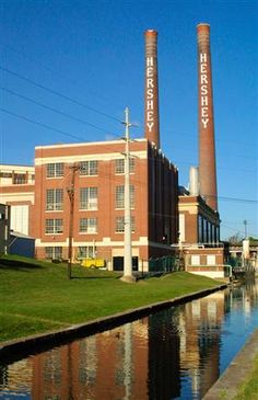 Hershey's: the old factory that they are going to tear down--but they are going to leave the Hershey stacks in the background