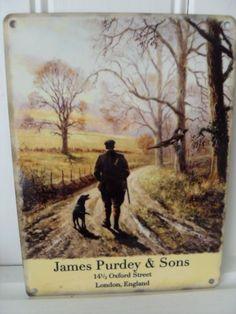 JAMES PURDEY & SONS LABRADOR GUNDOG COUNTRYSIDE VINTAGE STYLE METAL WALL SIGN