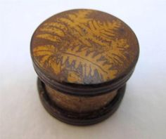 Antique Victorian Treen Mauchline Fern Ware Sewing Thread Waxer C1880