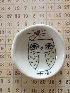 Owl ceramic dish #Owl #ceramic #dish #cute #hoot #heart