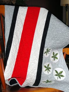 Sports Quilt colored like Ohio State Buckeyes. $135.00, via Etsy.