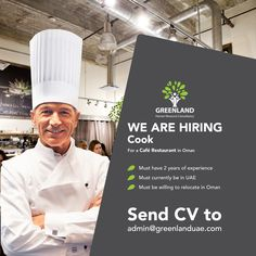 We are currently looking for a  #Cook for a Café Restaurant in #Oman ✔Must have 2 years of experience ✔Must currently be in #UAE ✔Must be willing to relocate in Oman Please send your CVs to admin@greenlanduae.com  #GreenlandUAE #jobs #job #DubaiJobs #Emirates #GCC #chef #hiring #food #restaurant #توظيف # وظيفة # وظائف_شاغرة #فرص_عمل # تصميم  #سيرة_ذاتية  #امارات  #عمل  #خبرة #هندسة