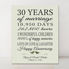 30th Anniversary Gift Personalized 30 Years Married For Pas Days Hours Green Birds Print Or Canvas