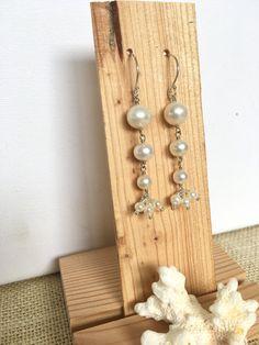 Pearl earrings  Bridal Jewellery  Long by GreenGeckoJewellery