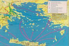 """A expansão da influência cultural minoica tem a sua origem no comércio cretense, e não na dominação militar ou política (""""Pax Minoica""""). O domínio micênico no Egeu se deu também pelo comércio porém com a introdução de elementos de guerra como os carros de guerra, o aperfeiçoamento de espadas, escudos, elmos e lanças, e sobretudo com a construção de embarcações que foram essenciais para a supremacia militar micênica, utilizadas em expedições marítimas, como o ataque a Troia relatado por…"""
