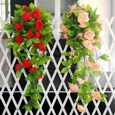 2.5M Artificial Silk ROSE Fake Flower Ivy Vine Hanging Garland Plants Christmas Party Home Decor Wall Sticker Wedding Decoration #Affiliate