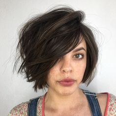 Lip-Length Tousled Brunette Bob