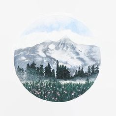Mountain Print, Mountain Art, Mountain Painting, Landscape Painting, Landscape Print, Circular Landscape Print, Mountain Artwork, Boho Decor