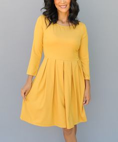 Look at this Mustard Pleated Skater Dress on #zulily today!